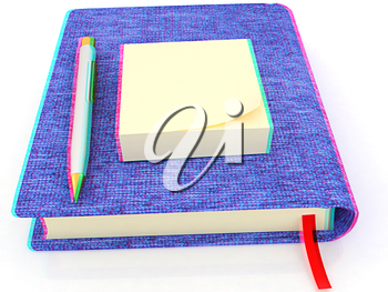 Sticky notes and pen on notepad on a white background. 3D illustration. Anaglyph. View with red/cyan glasses to see in 3D.