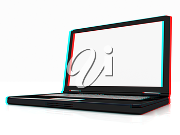 Laptop on a white background. 3D illustration. Anaglyph. View with red/cyan glasses to see in 3D.
