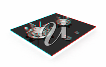 3d gas-stove on a white background. 3D illustration. Anaglyph. View with red/cyan glasses to see in 3D.