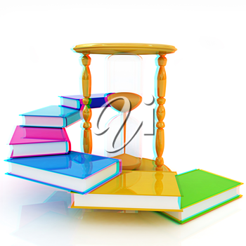 Hourglass and books on a white background. 3D illustration. Anaglyph. View with red/cyan glasses to see in 3D.