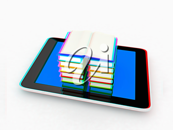 tablet pc and colorful real books on white background. 3D illustration. Anaglyph. View with red/cyan glasses to see in 3D.