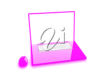 Pink laptop on a white background. 3D illustration. Anaglyph. View with red/cyan glasses to see in 3D.
