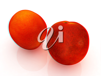 fresh peaches on a white background. 3D illustration. Anaglyph. View with red/cyan glasses to see in 3D.