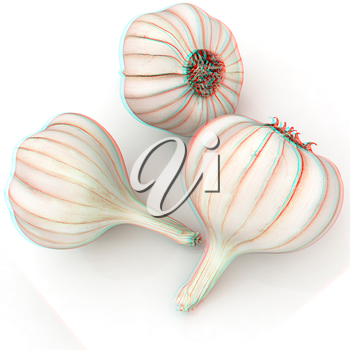 Head of garlic on a white background. 3D illustration. Anaglyph. View with red/cyan glasses to see in 3D.