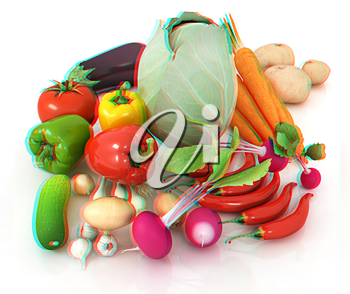 fresh vegetables with green leaves on a white background. 3D illustration. Anaglyph. View with red/cyan glasses to see in 3D.