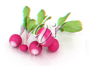 Small garden radish on a white background. 3D illustration. Anaglyph. View with red/cyan glasses to see in 3D.