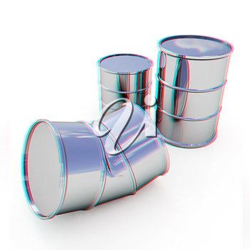 bent barrel on a white background. 3D illustration. Anaglyph. View with red/cyan glasses to see in 3D.