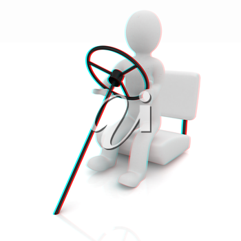 Abstract driver on a white background. 3D illustration. Anaglyph. View with red/cyan glasses to see in 3D.