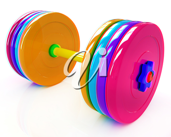 Colorful dumbbell on a white background. 3D illustration. Anaglyph. View with red/cyan glasses to see in 3D.