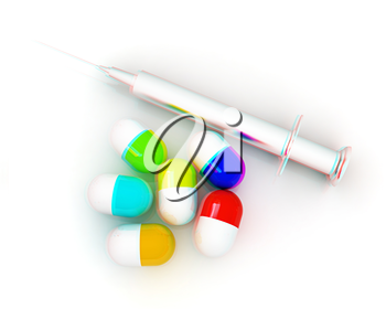 Pills and syringe on a white background. 3D illustration. Anaglyph. View with red/cyan glasses to see in 3D.