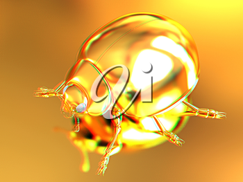 golden beetle on a gold background. 3D illustration. Anaglyph. View with red/cyan glasses to see in 3D.