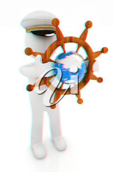 Sailor with wood steering wheel and earth. Trip around the world concept on a white background. 3D illustration. Anaglyph. View with red/cyan glasses to see in 3D.