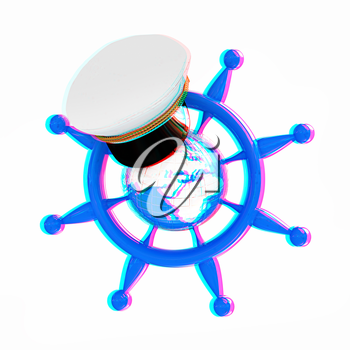 Steering wheel with Earth, and marine cap . Trip around the world concept on a white background. 3D illustration. Anaglyph. View with red/cyan glasses to see in 3D.
