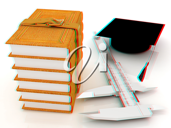 Vernier caliper, books and graduation hat. The best professional edication concept on a white background. 3D illustration. Anaglyph. View with red/cyan glasses to see in 3D.