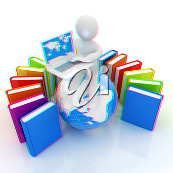 3d man sitting on earth and working at his laptop and books around his on a white background. 3D illustration. Anaglyph. View with red/cyan glasses to see in 3D.