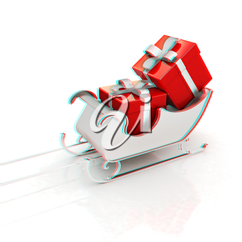 Christmas Santa sledge with gifts on a white background . 3D illustration. Anaglyph. View with red/cyan glasses to see in 3D.