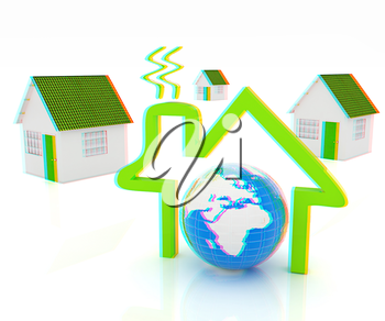 3d green house, earth and icon house on white background . 3D illustration. Anaglyph. View with red/cyan glasses to see in 3D.