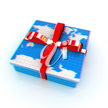 earth for gift on a white background. 3D illustration. Anaglyph. View with red/cyan glasses to see in 3D.