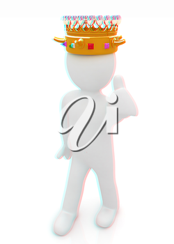 3d people - man, person with a golden crown. King . 3D illustration. Anaglyph. View with red/cyan glasses to see in 3D.