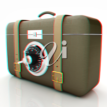 Leather suitcase-safe.. 3D illustration. Anaglyph. View with red/cyan glasses to see in 3D.