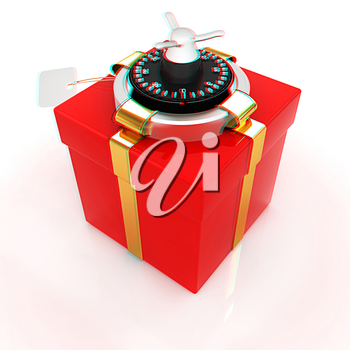 safe - gift. 3D illustration. Anaglyph. View with red/cyan glasses to see in 3D.
