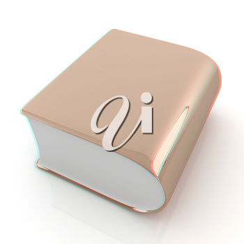 Glossy Book Icon isolated on a white background . 3D illustration. Anaglyph. View with red/cyan glasses to see in 3D.