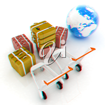 Trolley for luggage at the airport and earth. International tourism concept. 3D illustration. Anaglyph. View with red/cyan glasses to see in 3D.