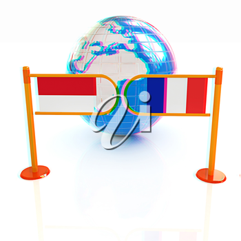 Three-dimensional image of the turnstile and flags of France and Monaco on a white background . 3D illustration. Anaglyph. View with red/cyan glasses to see in 3D.