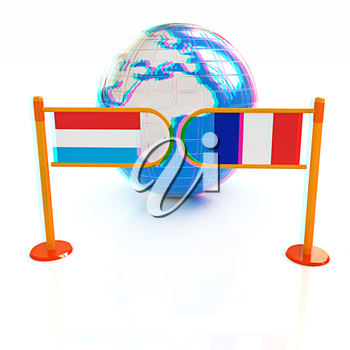 Three-dimensional image of the turnstile and flags of France and Luxembourg on a white background . 3D illustration. Anaglyph. View with red/cyan glasses to see in 3D.
