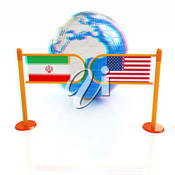 Three-dimensional image of the turnstile and flags of USA and Iran on a white background . 3D illustration. Anaglyph. View with red/cyan glasses to see in 3D.