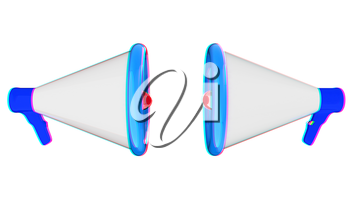 Loudspeakers as announcement icon. Illustration on white . 3D illustration. Anaglyph. View with red/cyan glasses to see in 3D.