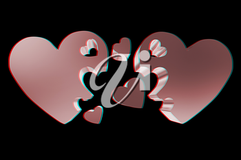 3d hearts family concept. 3D illustration. Anaglyph. View with red/cyan glasses to see in 3D.
