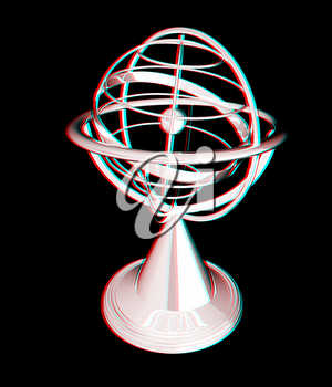 Terrestrial globe model . 3D illustration. Anaglyph. View with red/cyan glasses to see in 3D.