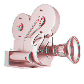 Old camera. 3d render. 3D illustration. Anaglyph. View with red/cyan glasses to see in 3D.
