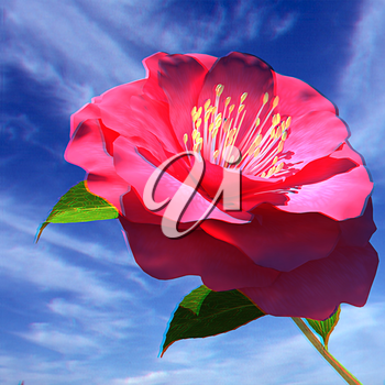Beautiful Flower against the sky . 3D illustration. Anaglyph. View with red/cyan glasses to see in 3D.
