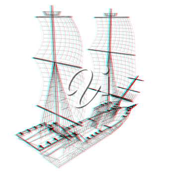 3d model ship. 3D illustration. Anaglyph. View with red/cyan glasses to see in 3D.