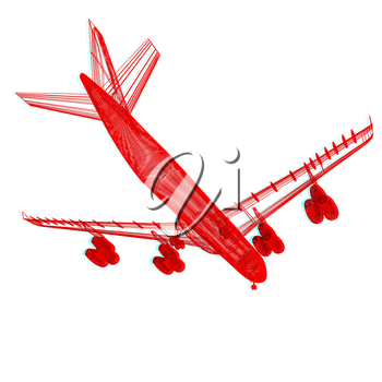 Airplane. 3D illustration. Anaglyph. View with red/cyan glasses to see in 3D.