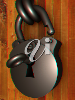 Old padlock on a wooden door. 3D illustration. Anaglyph. View with red/cyan glasses to see in 3D.