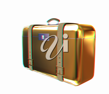 Golden suitcase. 3D illustration. Anaglyph. View with red/cyan glasses to see in 3D.