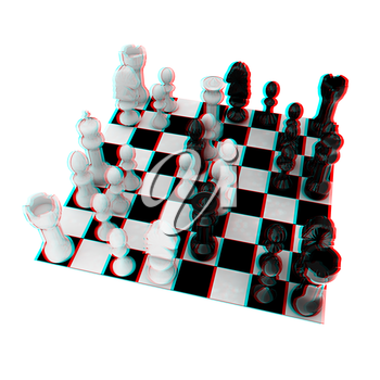 Chess. 3D illustration. Anaglyph. View with red/cyan glasses to see in 3D.