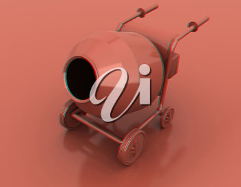 Concrete mixer. 3D illustration. Anaglyph. View with red/cyan glasses to see in 3D.