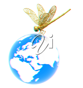 Dragonfly on earth. 3D illustration. Anaglyph. View with red/cyan glasses to see in 3D.