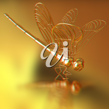 Gold dragonfly on a gold background. 3D illustration. Anaglyph. View with red/cyan glasses to see in 3D.