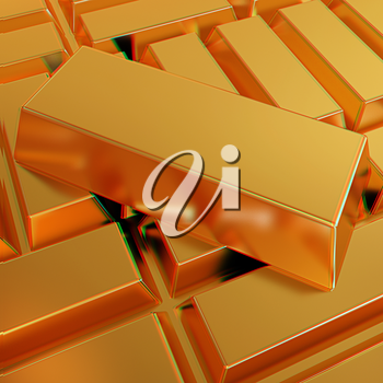 gold bars. 3D illustration. Anaglyph. View with red/cyan glasses to see in 3D.