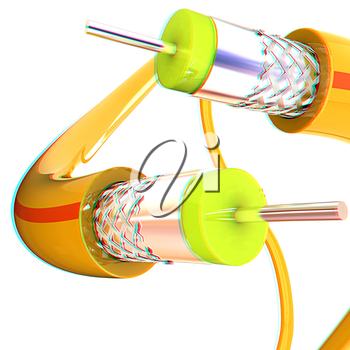 Cables for high tech connect. 3D illustration. Anaglyph. View with red/cyan glasses to see in 3D.