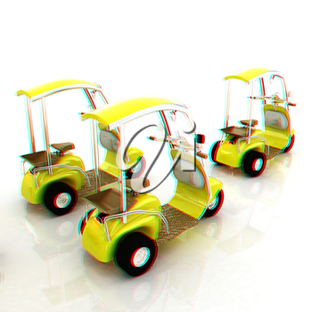 scooters. 3D illustration. Anaglyph. View with red/cyan glasses to see in 3D.