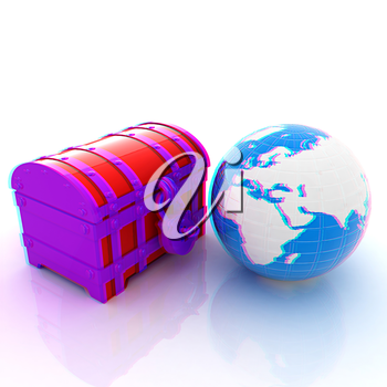 chest and Earth. 3D illustration. Anaglyph. View with red/cyan glasses to see in 3D.