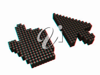 Set of Link selection computer mouse cursor on white background. 3D illustration. Anaglyph. View with red/cyan glasses to see in 3D.