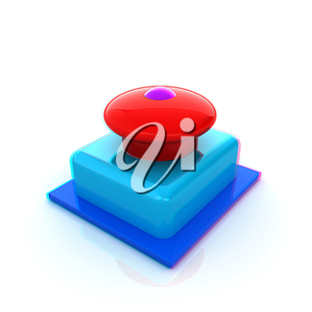 Emergency Button 3d icon. 3D illustration. Anaglyph. View with red/cyan glasses to see in 3D.