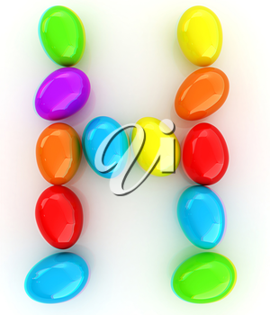 Alphabet from colorful eggs. Letter H. 3D illustration. Anaglyph. View with red/cyan glasses to see in 3D.